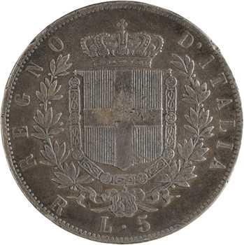 Italie (royaume d'), Victor-Emmanuel II, 5 lire, 1877 Rome