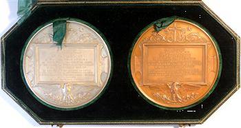 Second Empire, coffret des médailles en argent et en cuivre, commencement des travaux de la Cathédrale de Marseille, 1852-1855 Paris
