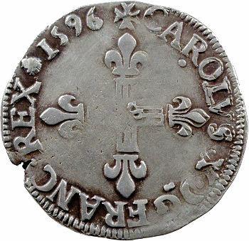 Charles X, quart d'écu, croix de face, 1596 Dinan