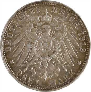Allemagne, Wurtemberg (royaume de), Guillaume II, 3 mark, 1912 Stuttgart
