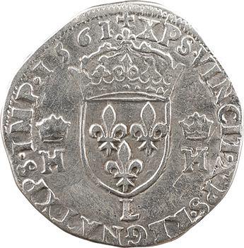 Charles IX (au nom d'Henri II), teston au buste lauré, 2e type, 1561 Bayonne