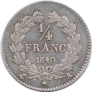 Louis-Philippe Ier, 1/4 franc, 1840 Paris