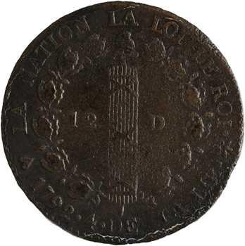 Constitution, 12 deniers FRANÇAIS, An 4, 1792 Strasbourg