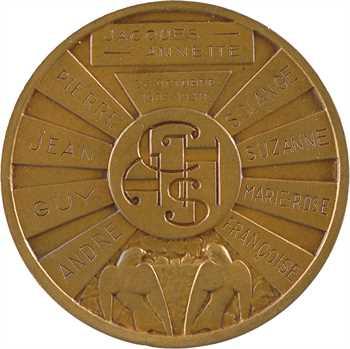 IIIe République, médaille de mariage par Charles, noces d'argent des époux Chobillon, 1905-1930 Paris