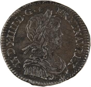 Louis XIV, douzième d'écu à la mèche longue, 1653 Amiens