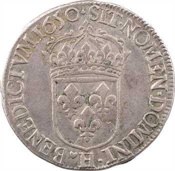 Louis XIV, demi-écu à la mèche longue, 1650 La Rochelle