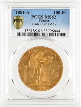 IIIe République, 100 francs Génie, 1881 Paris, PCGS MS62