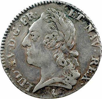 Louis XV, cinquième d'écu à la vieille tête, 1774 Paris
