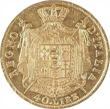 Italie, Napoléon Ier, 40 lire tranche en creux, 1810/00 Milan