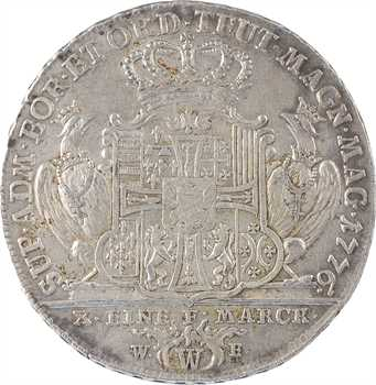 Allemagne, Ordre teutonique, Charles-Alexandre de Lorraine Grand Maître, thaler, 1776 Wertheim