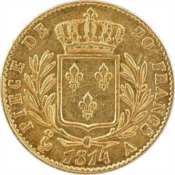 Louis XVIII, 20 francs buste habillé, 1814 Paris