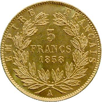 Second Empire, 5 francs tête nue, grand module, 1858 Paris