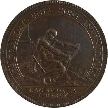 Constitution, cinq sols de Monneron à l'Hercule, frappe monnaie, An IV, 1792 Birmingham