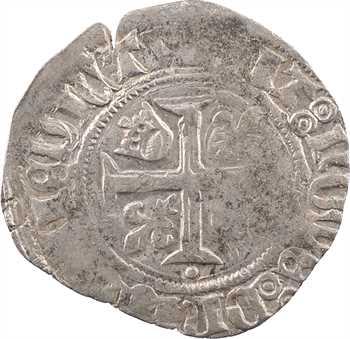 Duc de Bourgogne (au nom de Charles VI), blanc guénar 2e émission (O long puis rond), mai à octobre 1418, Troyes
