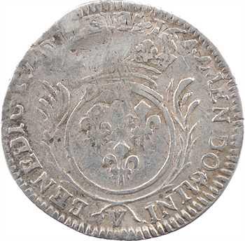 Louis XIV, douzième d'écu aux palmes, 169[7 ?] Troyes, variété hybride avec le droit du liard de France