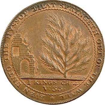 Royaume-Uni, penny token, entrée du jardin botanique de Bath, le cèdre du Liban, 1794