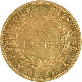 Consulat, 40 francs, An XI Paris