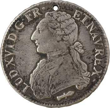 Louis XVI, écu aux rameaux d'olivier, 1790 Perpignan