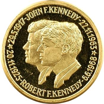 États-Unis, hommage aux frères John et Robert Kennedy, médaille en or PROOF, 1968