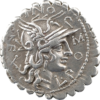 Pomponia, denier serratus, Rome, 118 av. J.-C
