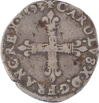 Charles X, quart d'écu, croix de face, 1593 Nantes