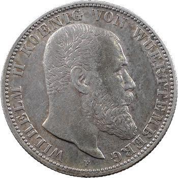 Allemagne, Wurtemberg (royaume de), Guillaume II, 2 mark, 1904 Stuttgart
