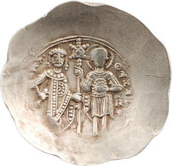Manuel Ier, aspron trachy d'électrum, Thessalonique, 1143-1180