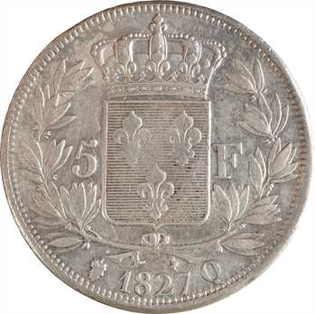 Charles X, 5 francs 2e type, 1827 Perpignan