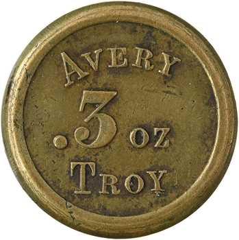 Royaume-Uni, poids d'apothicaire de 3 onces, Thomas Avery, c.1850