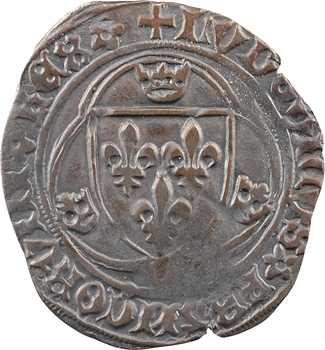 Louis XI, blanc à la couronne, FRANCORVM et NOMEN, molette finale au revers, 2e émission, Troyes