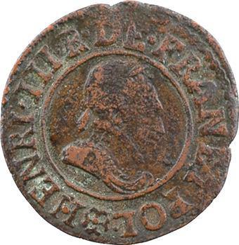 Henri III, denier tournois 2e type, 1589 Saint-Lô
