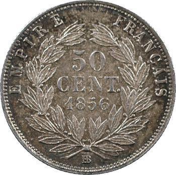 Second Empire, 50 centimes tête nue, 1856 Strasbourg