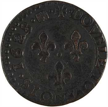 Louis XIII, double tournois 7e type, 1628 Bordeaux