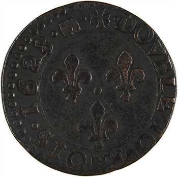Louis XIII, double tournois 7e type, 1628 Bordeaux