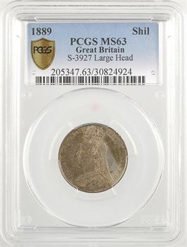 Royaume-Uni, Victoria, shilling, buste large, 1889 Londres, PCGS MS63