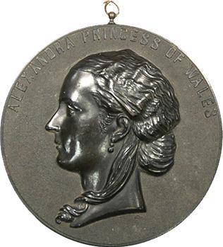 Royaume-Uni, médaille uniface en bois durci, Alexandra de Galles, fin XIXe s