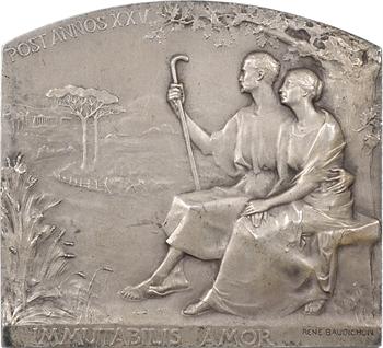 Baudichon (R.) : plaque de mariage en argent, 25 ans de mariage, 1911 Paris
