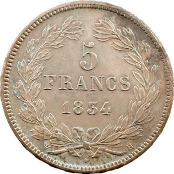 Louis-Philippe Ier, 5 francs IIe type Domard, 1834 La Rochelle