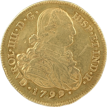 Colombie, Charles IV, 8 escudos, 1799 Popayán