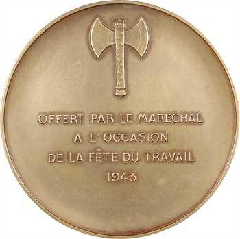 IIe Guerre Mondiale, le Maréchal Pétain et la Fête du Travail, par Pierre Turin, 1943 Paris