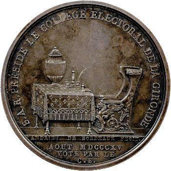 Restauration, Louis, duc d'Angoulême, médaille argent, août 1815