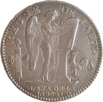 Constitution, écu de 6 livres FRANÇOIS, An 5, 1793 Paris
