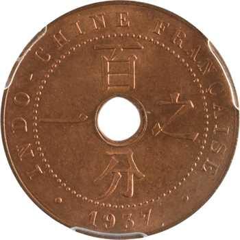Indochine, 1 centième, 1937 Paris, PCGS MS64RD