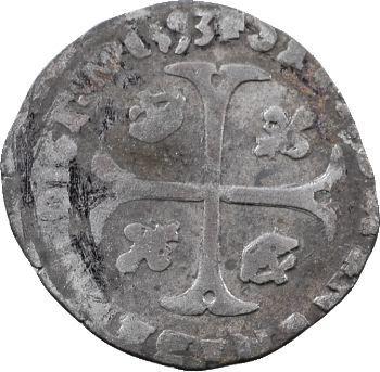 Henri IV, douzain aux 2 H 2e type, 1593 Villeneuve-les-Avignons