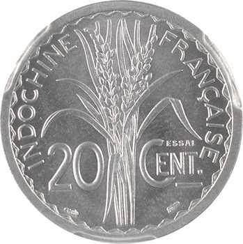 Indochine, essai de 20 centièmes, 1945 Paris, PCGS SP65