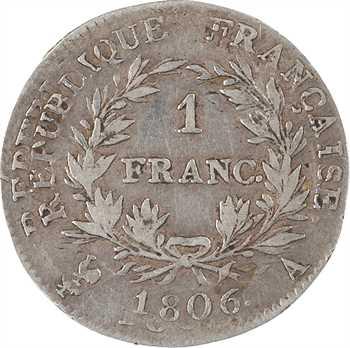 Premier Empire, 1 franc calendrier grégorien, 1806 Paris, variété frappes multiples