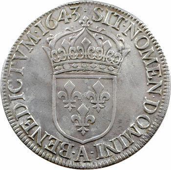 Louis XIV, écu à la mèche courte, 1643 Paris