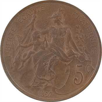 IIIe République, pré-série de 5 centimes Daniel-Dupuis flan mat, 1897 Paris