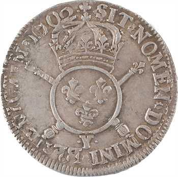 Louis XIV, demi-écu aux insignes, 1702 Bourges