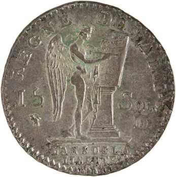 Constitution, 15 sols FRANÇAIS, An 3, 2d semestre, 1791 Lyon